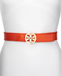 Tory Burch Marion Whipstitched Logo Belt, Orange