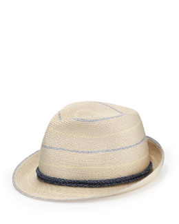 Eugenia Kim Max Striped Fedora, Ivory