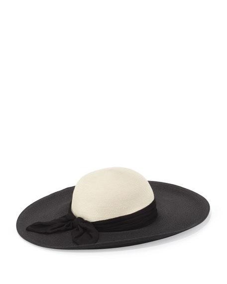 Honey Wide-Brim Scarf Hat, Black/Ivory