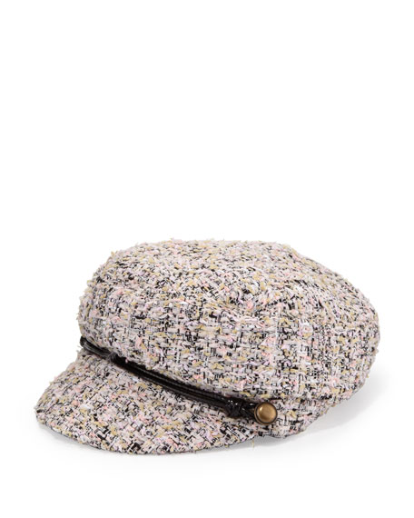 Elyse Tweed Marine Cap, Pink/Black