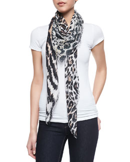 Roberto Cavalli Animal-Print Soft Knit Square Scarf