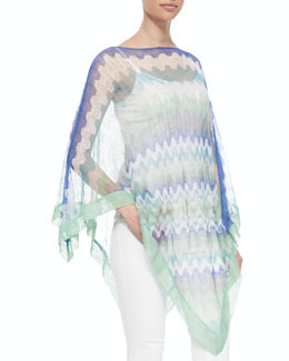 Missoni Sheer Knit Zigzag Poncho, Indigo/Mint