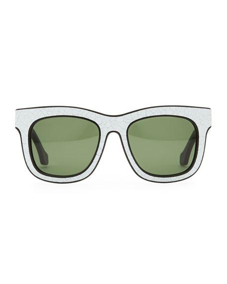 Cracked Square Sunglasses, White/Black