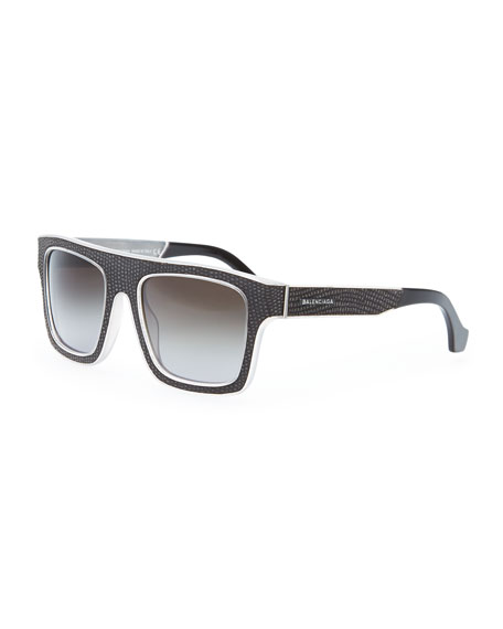 Square Straight Brow Lizard-Embossed Sunglasses, Opal Light Gray
