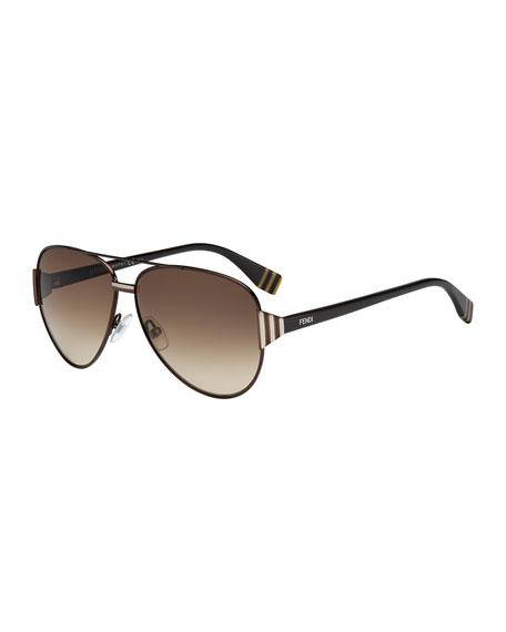 Striped-Temple Aviator Sunglasses, Dark Brown
