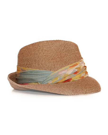 Max Fedora with Printed Chiffon Ribbon, Camel