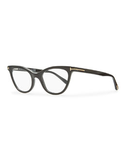 Tom Ford Slight Cat-Eye Fashion Glasses, Shiny Black
