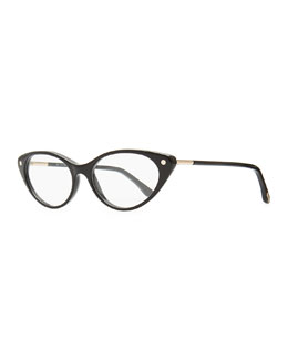 Stud-Temple Cat-Eye Fashion Glasses, Black