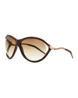 Roberto Cavalli Round Acetate Serpent-Temple Sunglasses, Brown