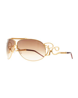Roberto Cavalli Metal Shield RC Logo-Temple Sunglasses