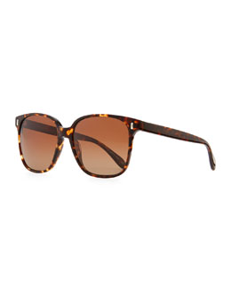Oliver Peoples Marmont Polarized Plastic Sunglasses, Brown Tortoise