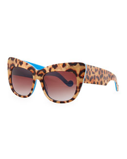 Alice Goes to Cannes Leopard-Print Sunglasses