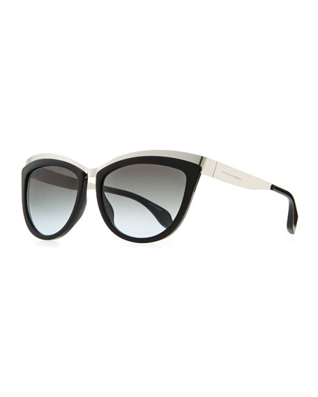 Colorblock Cat-Eye Sunglasses, Black/Silver