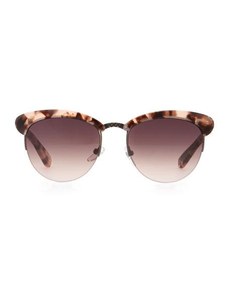 Half-Rim Tortoise Sunglasses, Pink/Brown