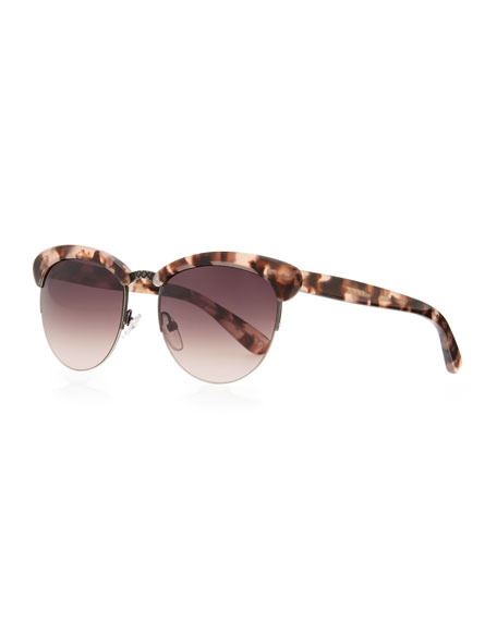 Half-Rim Tortoise Sunglasses, Pink/Brown