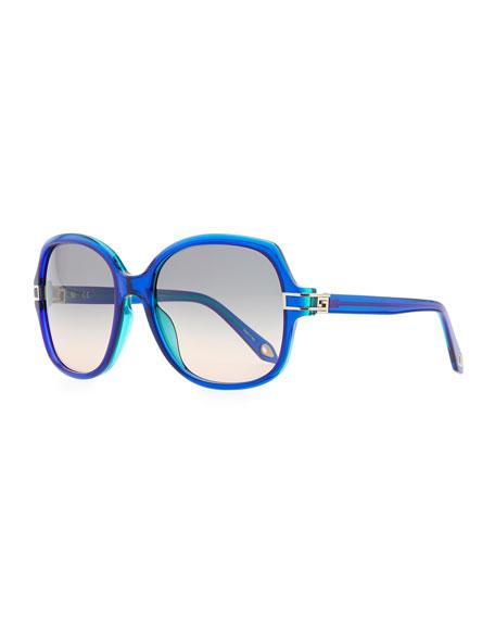 Round Plastic Sunglasses, Blue