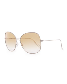Oliver Peoples Isabel Marant par Oliver Peoples Daria 62 Oversized Sunglasses, Silver/Honey Gradient