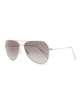 Oliver Peoples Isabel Marant par Oliver Peoples Matt 60 Aviator Sunglasses, Silver/Gray Gradient