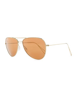 Oliver Peoples Isabel Marant par Oliver Peoples Matt 60 Aviator Sunglasses, Light Gold/Peach Mirror