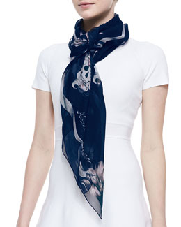 Alexander McQueen Floral Skull Shawl, Blue/Pink