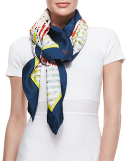 Erdem Eton Bloom Silk Twill Scarf, Black/White/Multicolor