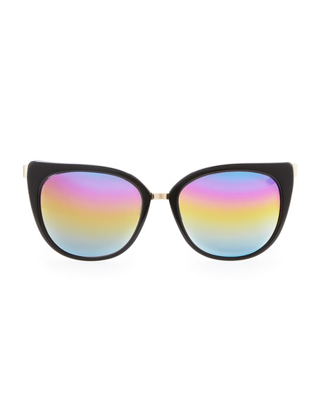 Ronette Soft Cat-Eye Sunglasses, Black