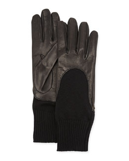 Gucci Leather-Finger Cashmere Glove