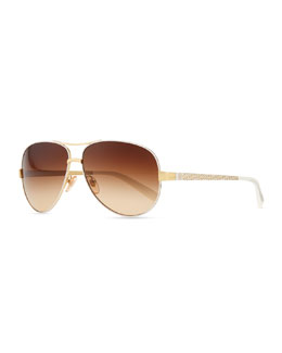 Tory Burch Metal Aviator Sunglasses with Logo Arms, Golden/Ivory