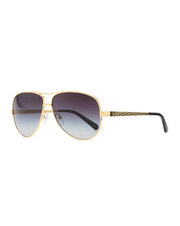 Tory Burch Metal Aviator Sunglasses with Logo Arms, Golden/Black