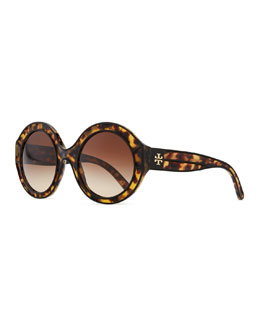 Tory Burch Round Tortoise Plastic Sunglasses, Black/Brown