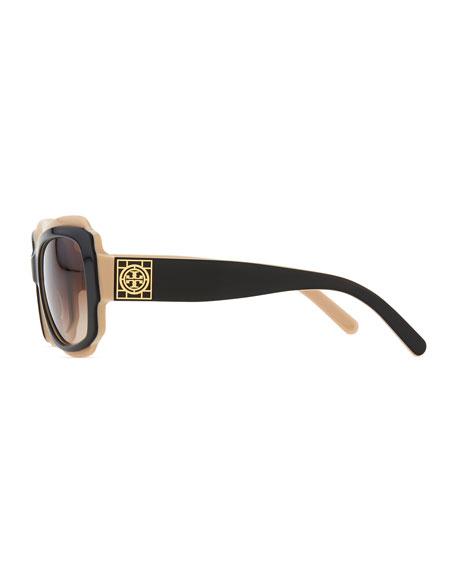 16bab0ca916 Tory Burch Two-Tone Plastic Sunglasses with Logo
