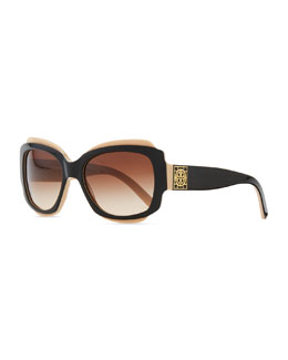 Tory Burch Two-Tone Plastic Sunglasses with Logo, Black/Cream