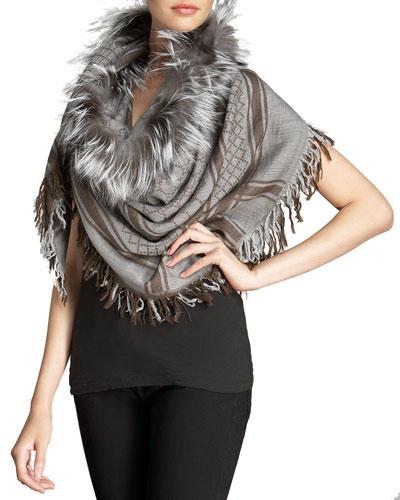 Survie GG Fox Fur Stole, Lead/Light Gray