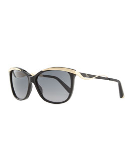 Dior Wave-Arm Sunglasses, Black