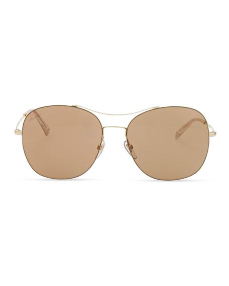 Round Metal Aviator Sunglasses, Brown/Golden