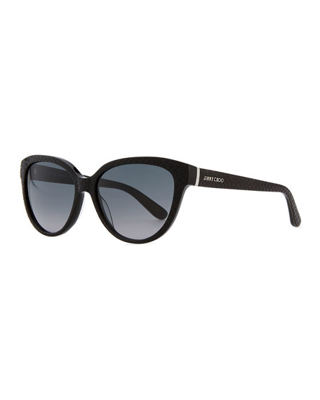 Odetts Plastic Cat-Eye Sunglasses, Black