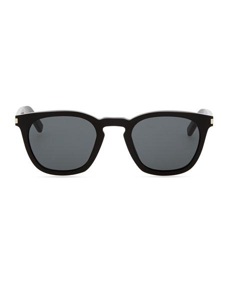 Plastic Sunglasses with Stud Temples, Black