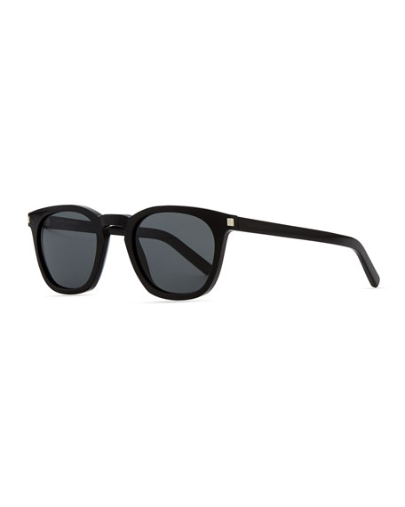 Plastic Sunglasses with Stud Temples, Black
