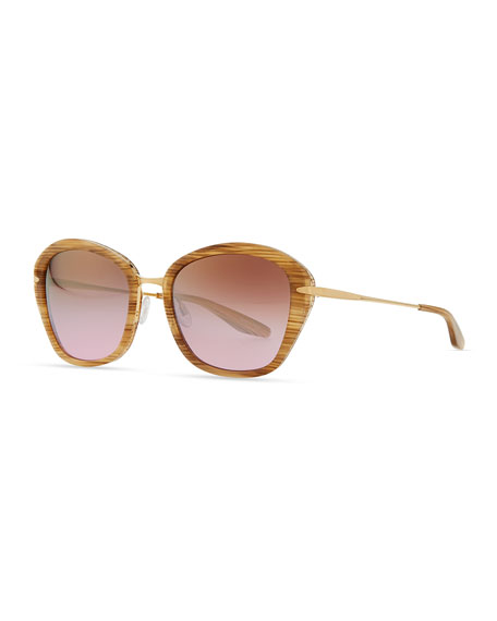 Universal Fit Farro with Hornlike Striations Acetate & Metal Butterfly Sunglasses, Horn