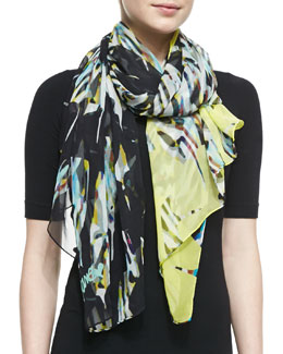 Diane von Furstenberg Floral Stained Glass Silk Scarf, Yellow/Black