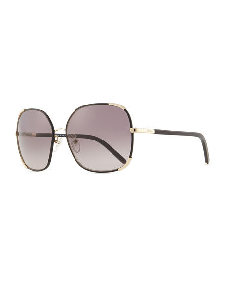 6ec6c80f86a Chloe Nerine Oversized Sunglasses with Leather