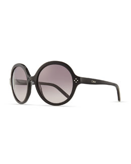 Chloe Boxwood Round Sunglasses, Black