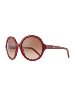 Chloe Boxwood Round Sunglasses, Red