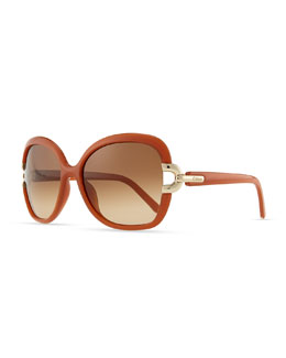 Chloe Brunelle Square Sunglasses, Brick