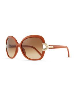 Chloe Brunelle Square Sunglasses, Brick