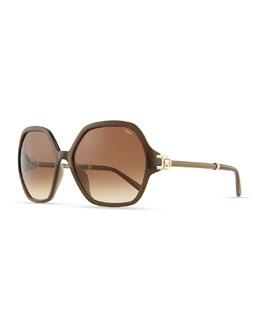 Chloe Marcie Oversized Sunglasses, Khaki
