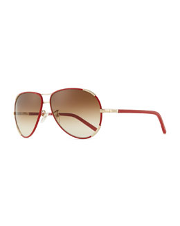 Chloe Nerine Aviator Sunglasses with Leather, Gold/Red
