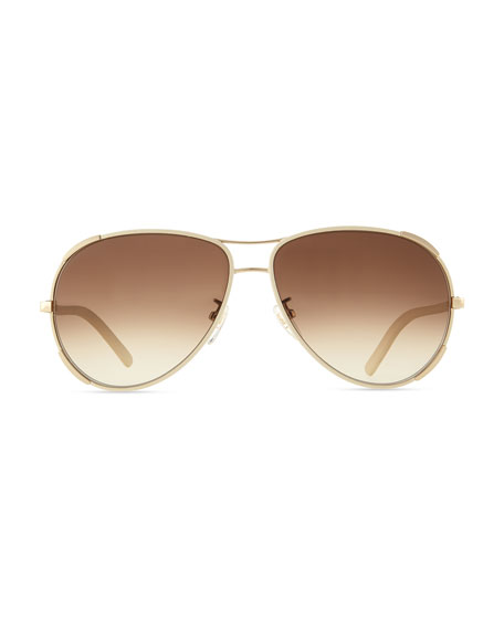 Nerine Aviator Sunglasses with Leather, Gold/Cream