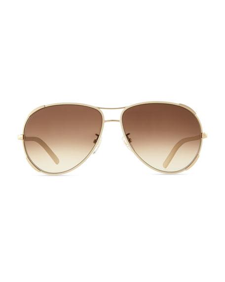 7984283f9c2 Chloe Nerine Aviator Sunglasses with Leather