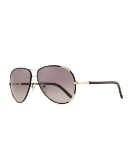 Chloe Nerine Aviator Sunglasses with Leather, Gold/Black